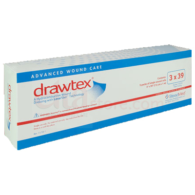 Drawtex Hydroconductive Wound Dressing w/ LevaFiber - 3x39 Roll (Box of 5)
